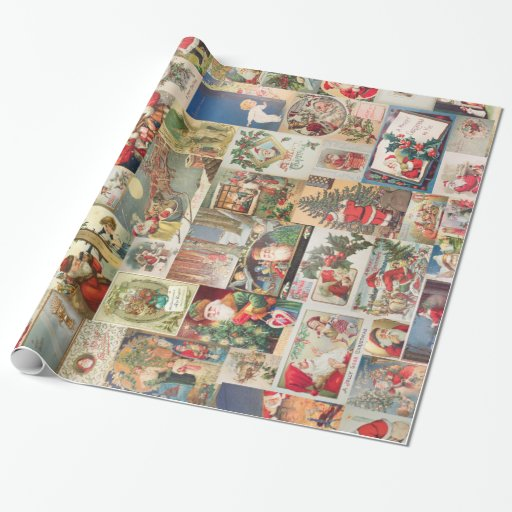 Vintage Christmas Cards Holiday Pattern Wrapping Paper ...
