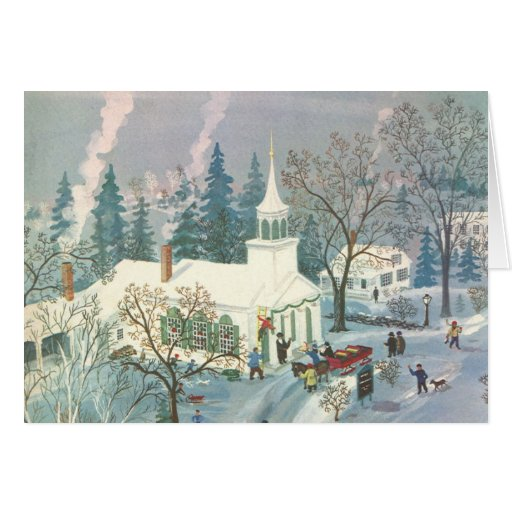 Painting Church In Snow Religious Christmas Ceramic: Vintage Christmas Church In Snow With People Card