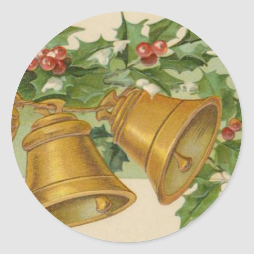 Vintage Christmas Gold Bells & Frozen Holly. Classic Round