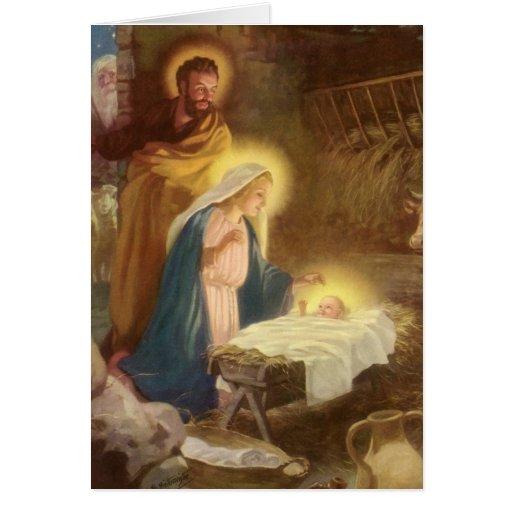 vintage christmas nativity mary joseph baby jesus card
