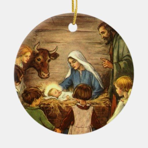 Religious Christmas Ornament Assortment: Vintage Christmas, Religious Nativity W Baby Jesus Ceramic