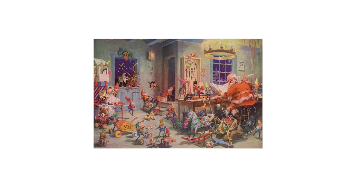 Vintage Christmas Santa Claus With Elves Workshop Poster R B B A B C Dbad A Fbf D F Achz Byvr on Zazzle Christmas Cards