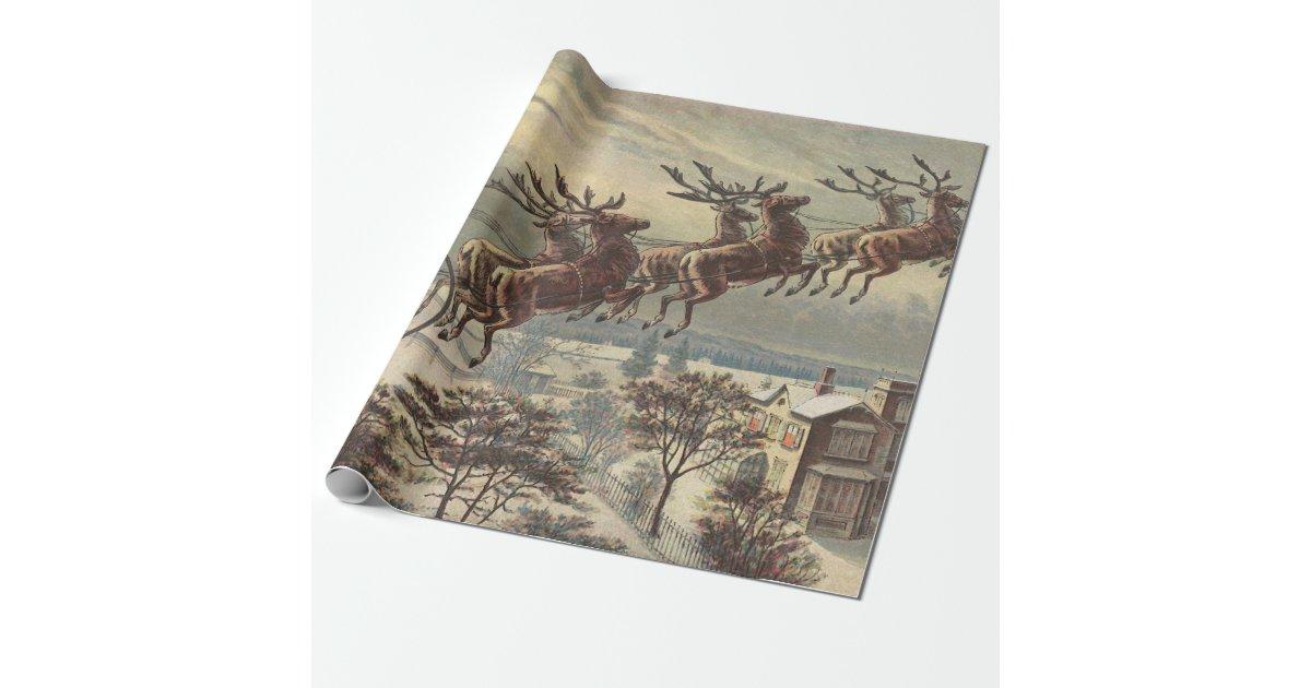 Vintage Christmas Victorian Santa Claus In Sleigh