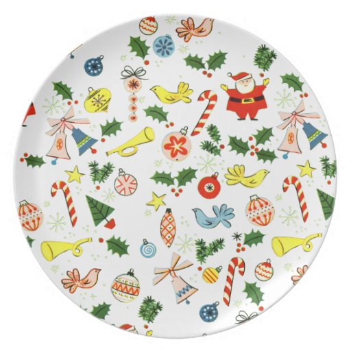 Vintage Christmas Wrapping Paper Melamine Plate | Zazzle