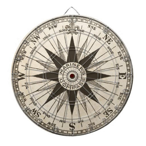 Vintage Compass Rose Dartboards | Zazzle