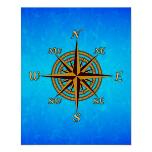 Vintage Compass Rose Poster | Zazzle