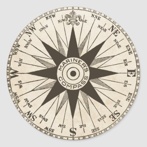 Vintage Compass Rose Classic Round Sticker | Zazzle