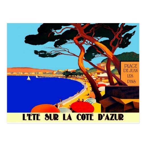 vintage cote d 39 azur french travel postcard zazzle. Black Bedroom Furniture Sets. Home Design Ideas