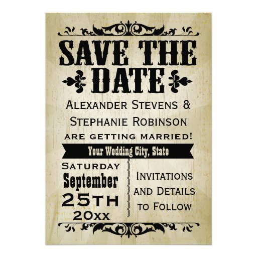 """Mid Century Romance Save The Date Cards: Vintage Country Save The Date Cards 5"""" X 7"""" Invitation"""
