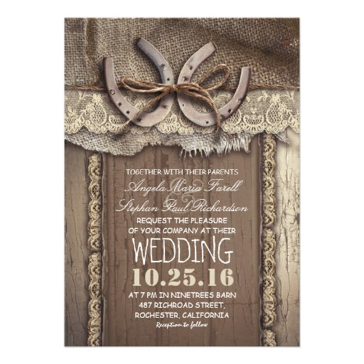 """Country Wedding Invitations: Vintage Country Wedding Invitations 5"""" X 7"""" Invitation"""
