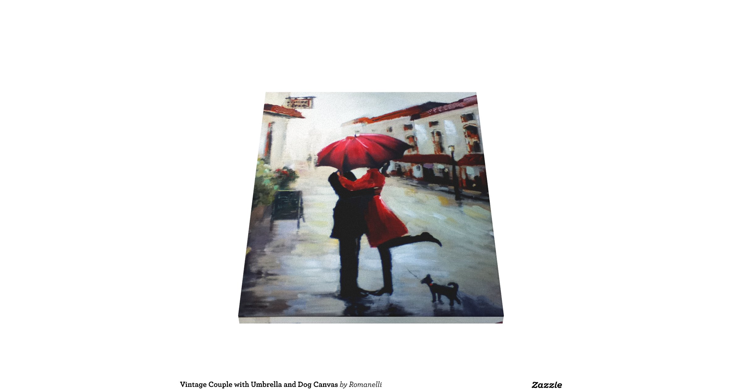 Vintage Couple With Umbrella And Dog Canvas Gallery Wrap