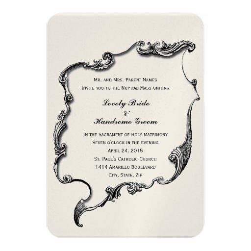 """Catholic Wedding Invitations: Vintage Cross Catholic Small Wedding Invitation 3.5"""" X 5"""