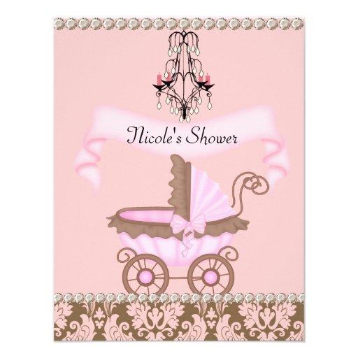 Vintage Baby Shower Invitations Girl: VINTAGE DAMASK GIRL BABY Shower INVITATIONS