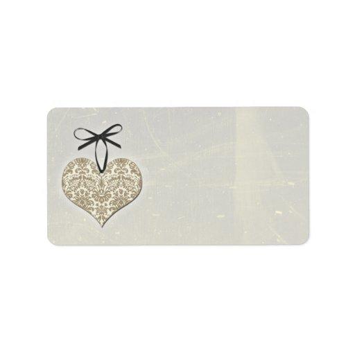 Vintage Damask Heart Wedding Blank Address Labels