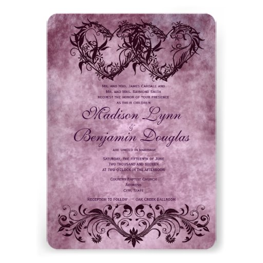 "Vintage Double Hearts Purple Wedding Invitations 5"" X 7"