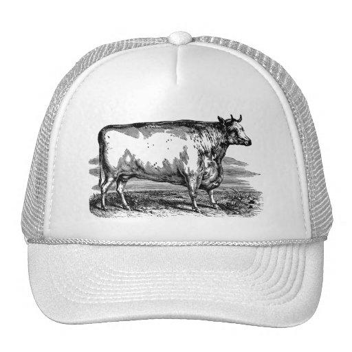 Durham Bulls Hat: Vintage Durham Cow Bull Personalized Illustration Trucker