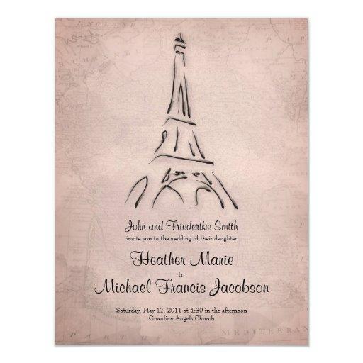 Eiffel Tower Wedding Invitations: Vintage Eiffel Tower Sepia Wedding Invitation