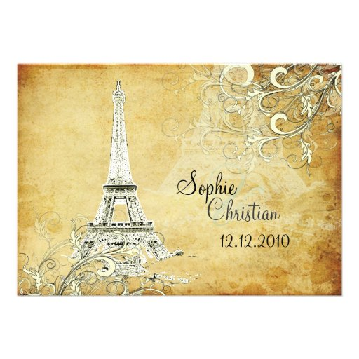 """Eiffel Tower Wedding Invitations: Vintage Eiffel Tower + Swirls Wedding Invitations 5"""" X 7"""