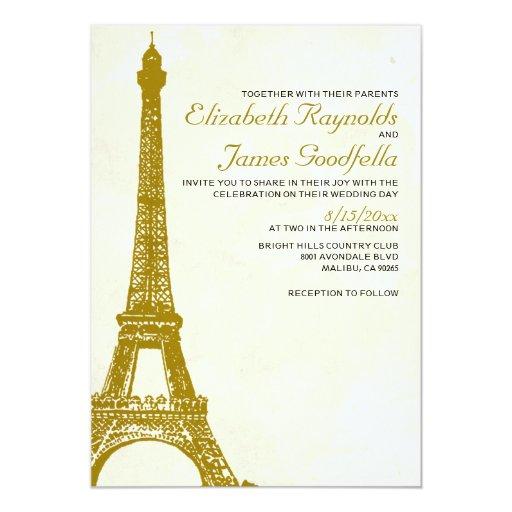 Eiffel Tower Wedding Invitations: Vintage Eiffel Tower Wedding Invitations Custom