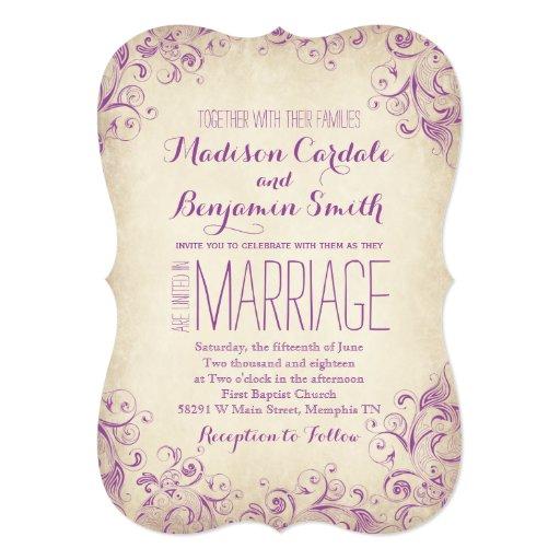Elegant Purple Wedding Invitations: Vintage Elegant Purple Flourish Wedding Invitation
