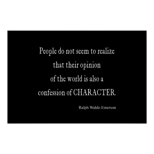Inspirational Quotes On Character: Vintage Emerson Inspirational Character Quote Poster