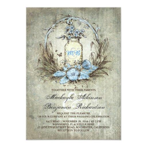 "Rustic Mason Jar Floral Wedding Invitations Burgundy: Vintage Floral Mason Jar Rustic Wedding Invitation 5"" X 7"