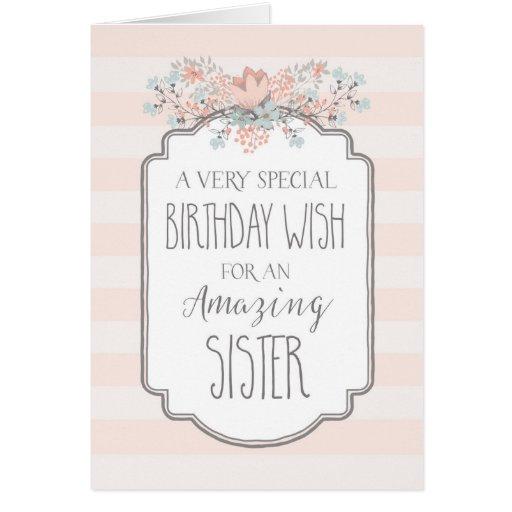 Vintage Floral Pink Stripes Sister Birthday Card