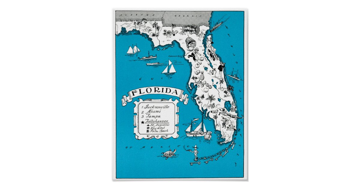 Texas State Vintage Map Gifts Home Decor Wall Art Office: Vintage Florida State Map Coastal Wall Decor Poster