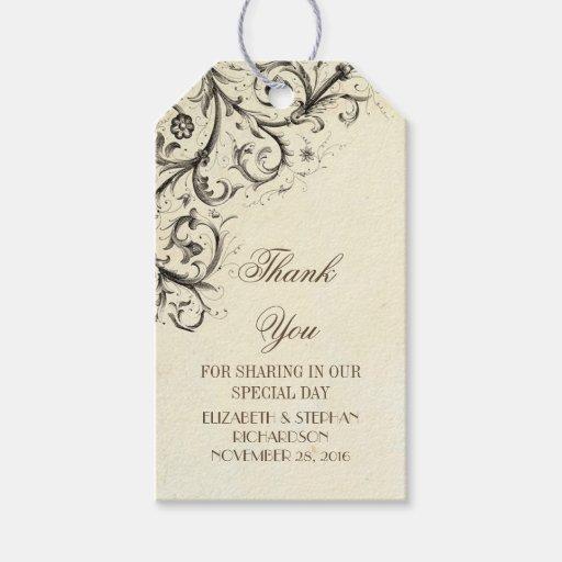 Wedding Thank You Gift Tags: Vintage Flourishes Elegant Wedding Thank You Gift Tags