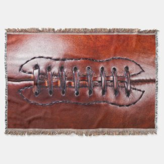 Vintage Football Blanket up close Football Laces Throw Blanket