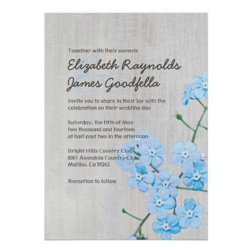 Forget Me Not Wedding Invitations: Forget Me Not Cards, Forget Me Not Card Templates, Postage