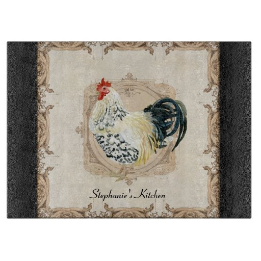 Vintage French Home Decor: Vintage French Damask Rooster Kitchen Home Decor Cutting