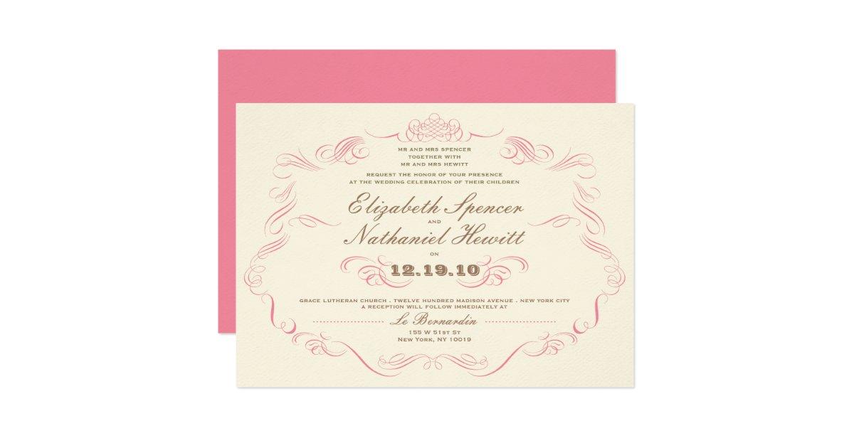Vintage Glam Wedding Invitations: Vintage Glamour Wedding Invitation Blush Pink