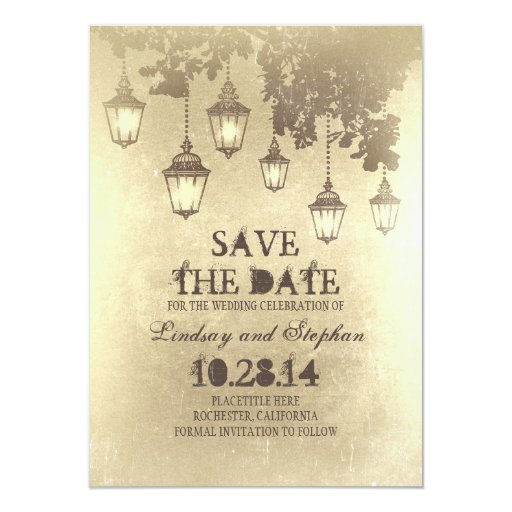 Mid Century Romance Save The Date Cards: Vintage Hanging Lamp Lights Save The Date Cards
