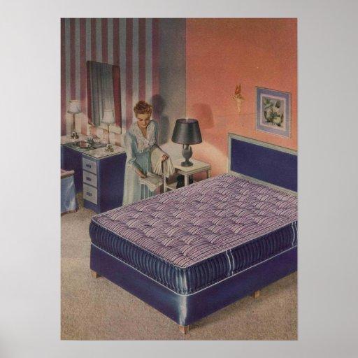 Hollywood Regency Interior Design: Vintage Hollywood Regency Glamour Bedroom Interior Print