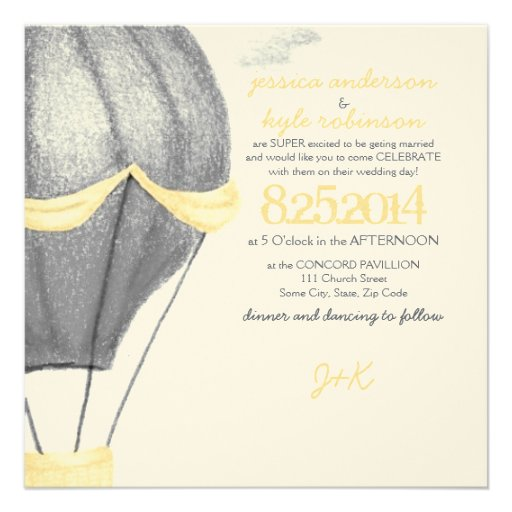 "Vintage Hot Air Balloon Wedding Invitation 5.25"" Square"