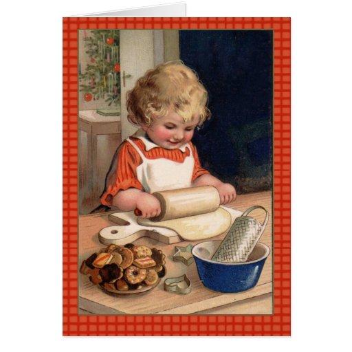 Vintage Illustration Girl Baking Christmas Cookies Card