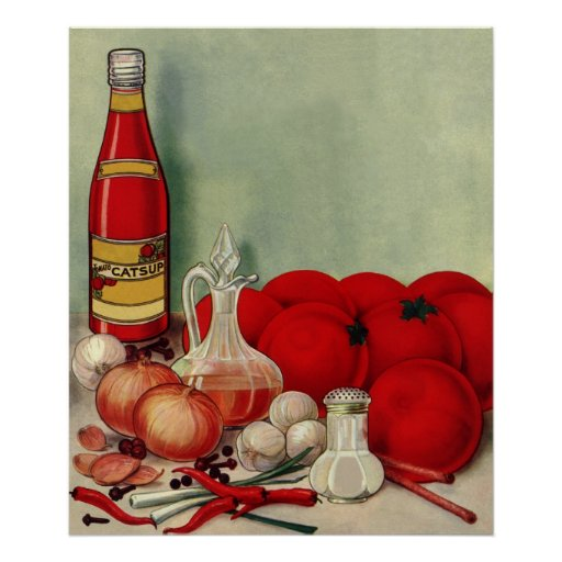 Vintage Italian Food Tomato Onions Peppers Catsup Poster ...