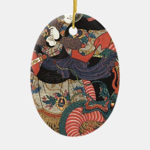 Vintage Japanese Red Dragon Christmas Tree Ornaments