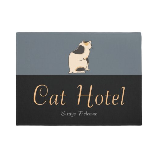 Vintage Japanese Stray Cats Welcome Hotel Sign Doormat