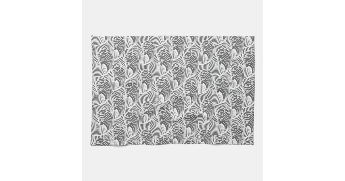 vintage japanese waves gray grey and white hand towels zazzle. Black Bedroom Furniture Sets. Home Design Ideas