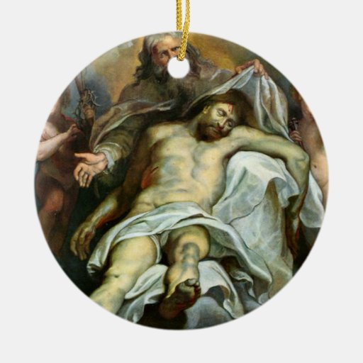 Vintage Religious Christmas Ornament: Vintage Jesus Painting Religious Holiday Ornament