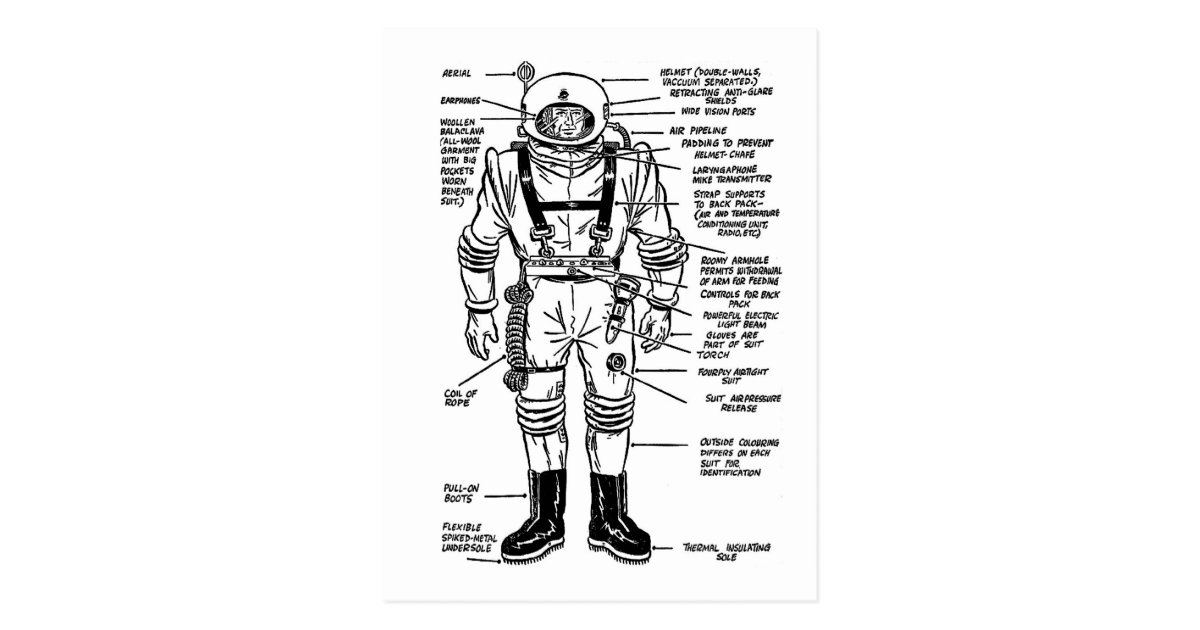 Vintage Kitsch Mr. Spaceman Astronaut Illustration ...