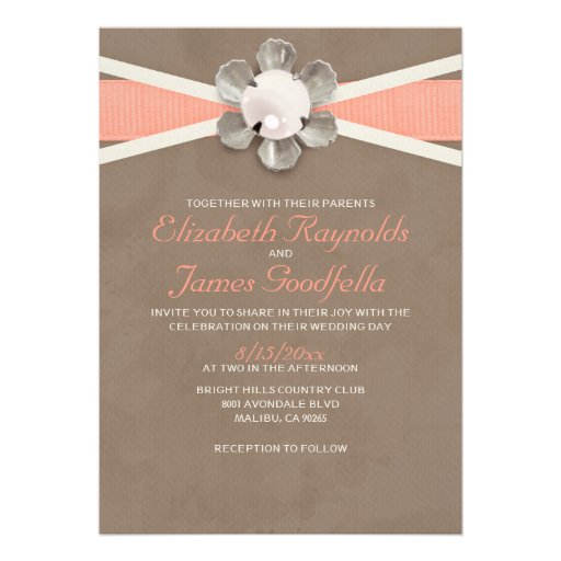 Pearl And Lace Wedding Invitations: Vintage Lace And Pearls Wedding Invitations Card
