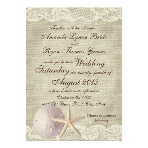 Vintage Beach Wedding Invitations: Vintage Lace Beach Wedding Invites