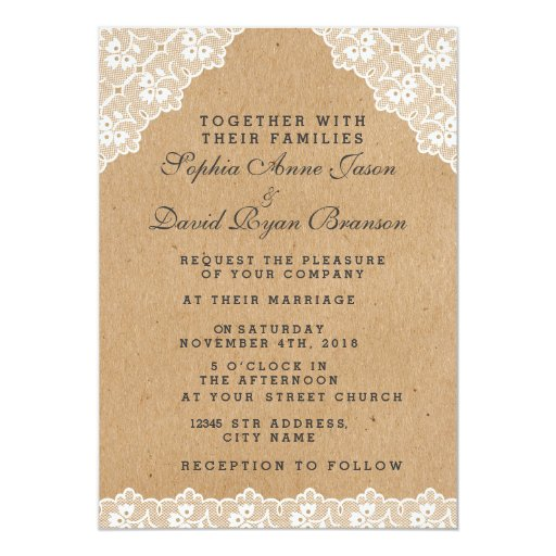 Paper For Wedding Invitation: Vintage Lace Craft Paper Wedding Invitation