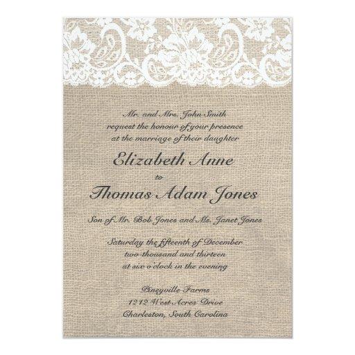 Burlap Invitations Wedding: Vintage Lace Look & Burlap Look Wedding Invitation