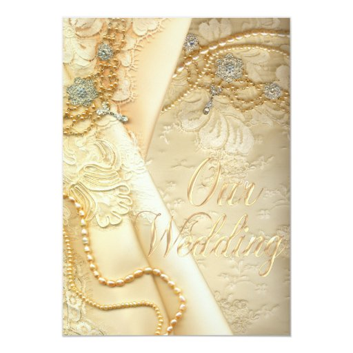 Pearl And Lace Wedding Invitations: Vintage Lace Wedding Dress And Pearls Wedding Custom