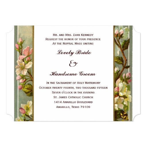 Catholic Wedding Invitations: Vintage Lily Cross Catholic Wedding Invitation