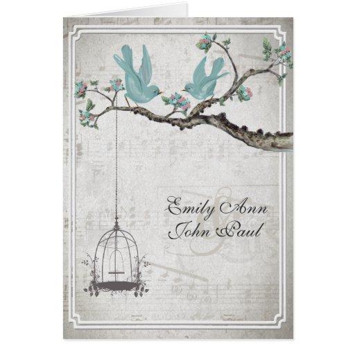 Wedding Invitations Birdcage: Vintage Love Birds BirdCage Wedding Invitations